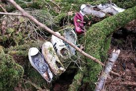 shoes laid carefully in aokigahara